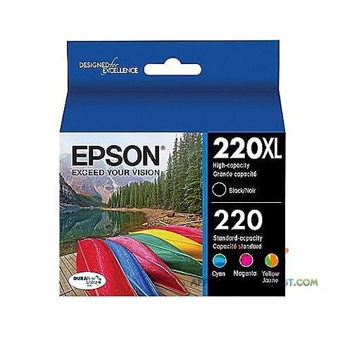T220XLBCS Epson 220XL/220 High Yield Black, Standard Color C/M/Y Cartridge, T220XLBCS, Combo 4/pack (Epson 220 Inks)