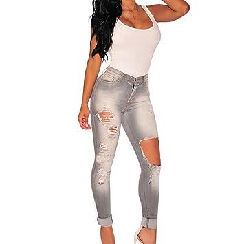 Grises pantalones vaqueros agujeros mujeres gris pantalones ...