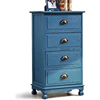 Mediterranean Vintage Nightstand Bedside Table with 4 Drawers Cabinet Blue