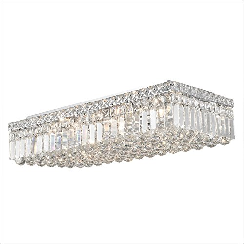 Worldwide Lighting W33530C24 Cascade 6 Light Flush Mount Rectangle Crystal Ceiling Light, Extra Large, Chrome Finish and Clear Crystal, 24
