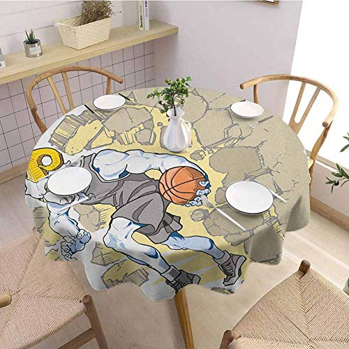Luoiaax Animal Multiple Colors and Sizes Painting Style A Farmville Bighorn Sheep Animal Basketball Player Ilustration Art Can be Used for Parties D47 Inch Round Tan and Grey (Farmville Market)