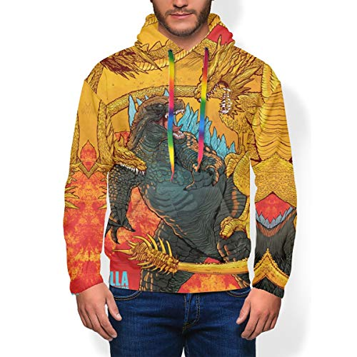 Unisex Realistic 3D Print Pullover Hooded Sweatshirt with Kangaroo Pocket, Funny Pattern Hoodie Cosplay Costume for Men Teens, Gold King Ghidorah Godzilla King of The Monsters Anime Poster