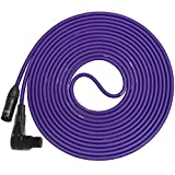 LyxPro LCS Premium Series 25ft Right-Angle XLR Microphone Cable for Professional Microphones and Devices, Purple
