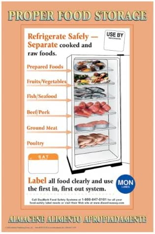 DayMark Laminated Workplace Safety and Educational Poster, Proper Food Storage, 11