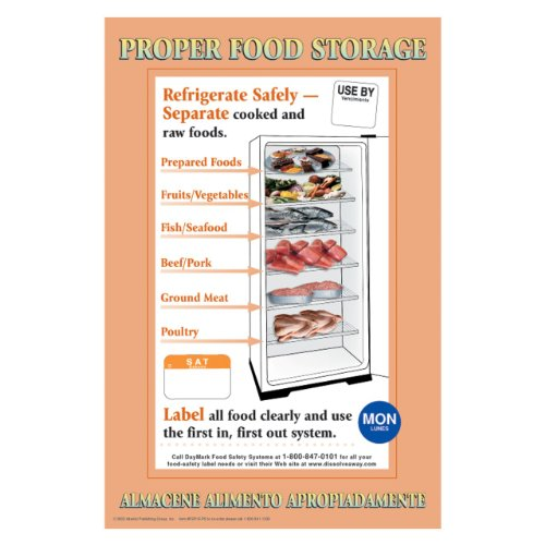 DayMark IT112270 Laminated Workplace Safety and Educational Poster, Proper Food Storage, 11