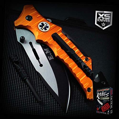 EMS Orange MULTI TOOL Belt Cutter Glass Breaker EMS Spring-Assisted Pocket Pro Tactical Elite Knife XS092K + Free eBook by ProTactical-US from NewBBKnife
