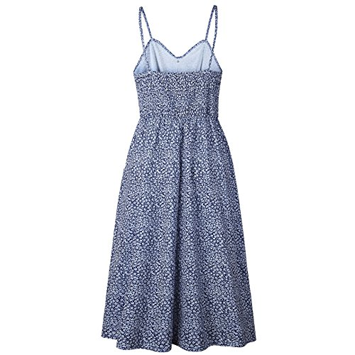 Midi Navy with Button Dresses Pockets Spaghetti Strap 721 Women's Summer Apparel Blue Bohemian Floral Doris Dress UFRq6zP8w