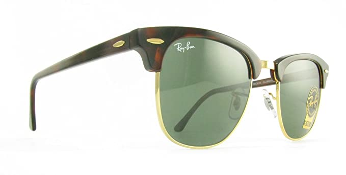 c4c8e98cf1e Ray-Ban - Clubmaster - RB3016 W0366 - 51mm - Tortoise Frame - Crystal Green  Lens  Amazon.co.uk  Clothing