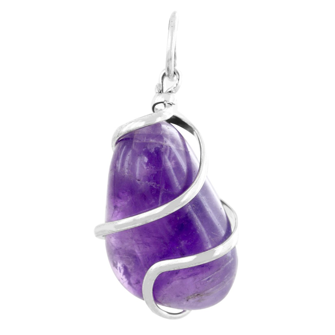 Skyjewels Natural Purple Amethyst Silver Pendant With Chain