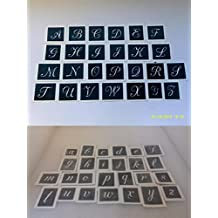 Large capital & lower case letter stencils (mixed) for etching glass A-Z - 50 letters mixed
