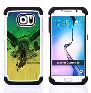 - Owl Neon Glow Triangle Illuminati/ H??brido 3in1 Deluxe Impreso duro Soft Alto Impacto caja de la armadura Defender - SHIMIN CAO - For Samsung Galaxy S6 G9200