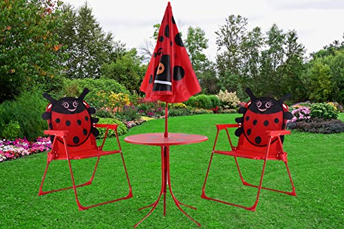 Set of 3 Red Beetle Ladybugs Pattern Kid Chair+Table+Umbrella Patio Garden Backyard Front yard Children Furniture Utility Kid room Foldable Easy Storage Light Weight Trip Party Event Picnic Home by Prettyshop4246 (Image #4)
