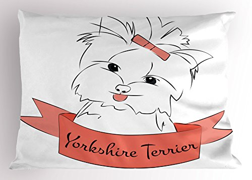Ambesonne Yorkie Pillow Sham, Cute Puppy with Hair Buckle Yorkie Terrier Animal Ribbon Cartoon Character Print, Decorative Standard Queen Size Printed Pillowcase, 30 X 20 Inches, Pink White