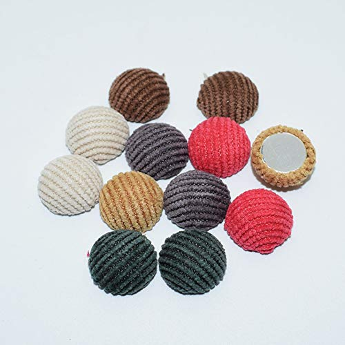- Maslin 50pcs 15mm Striped Fabric Covered Round Flatback Cabochon Decoration Chunky Buttons DIY Handmade Scrapbooking Crafts - (Color: 5 Darkcayn)