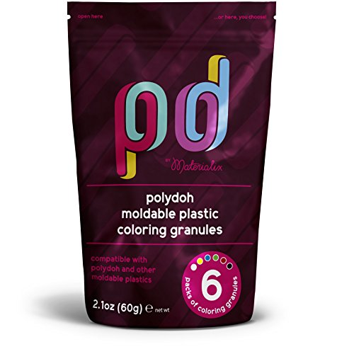Moldable Plastic Coloring granules/Pigment Pack pellets. 6 Colors. Large Pack. Compatible with All moldable Plastics.