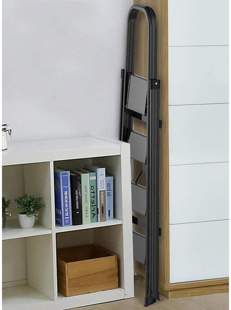 escalera de seguridad multifuncional con pasamanos Escalera de aleaci/ón de aluminio para el hogar escalerilla plegable interior 150 KG-blanco/_3 pasos
