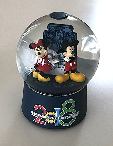 Walt Disney World 2018 Year to Be Here Mickey Minnie Mouse Glass Snowglobe - Glasses Mickey Mouse