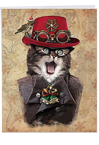 - Humorous 'steampunk Cats Red Hat' Merry Christmas Card with Envelope (Big 8.5 x 11 Inch) - A Big Steampunk Kitten and Cat Holiday Greeting Card J6554CXSG