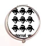 Eazy-E N.W.A Gangsta Rap Band Fashion Custom Round Silver Pill Box Pocket 2.1 inches Medicine Tablet Holder Organizer Case for Purse