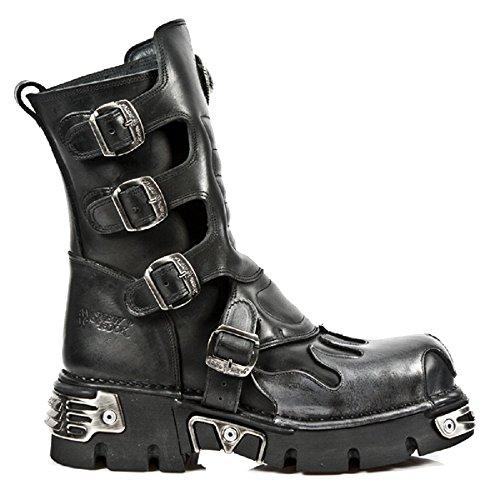 Length Boots New Rock Ternero Negro con llamas pœrpuras y soles Reactor