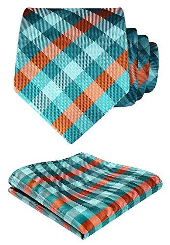 HISDERN Check Geometric Tie Handkerchief Woven Wedding Classic Men's Necktie & Pocket Square Set Green & Orange (Classic Geometric Tie)