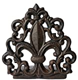 LuLu Decor, Cast Iron Fleur De Lis Door Stop, Door Stopper in antique black finish, Beautiful and useful product, simply insert flat base underneath your door space, works great (LB15BK3)