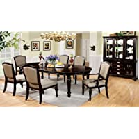 7 pc Harrington dark walnut finish wood elegant formal style dining table set with turned legs