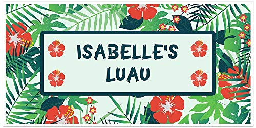 - Hawaiian Luau Birthday Banner Personalized Party Backdrop