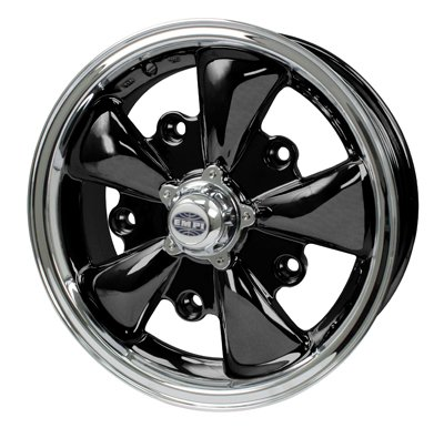 PREMIUM GT-5 WHEEL, Black With Polished Lip, 5.5'' Wide, 5 on 205mm by Appletree Automotive (Image #1)