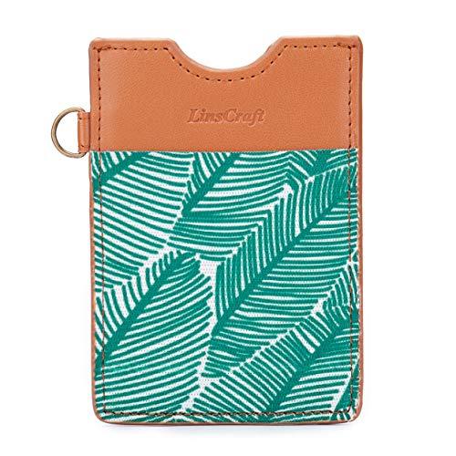 Small RFID Blocking Slim Minimalist Credit Card Holder Elastic Leather Front Pocket Wallets Keychain for Women Men
