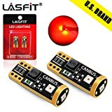 LASFIT 194 168 T10 W5W LED Bulb Canbus Error Free, Non-Polarity 400LM Extremely Bright for Tail Center High Mount Stop Lights, Rear Side Marker Lamps, Brilliant Red (Pack of 2)