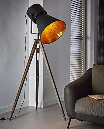 Tripod Stehleuchte FLOOD WOOD, Industrial Style Black