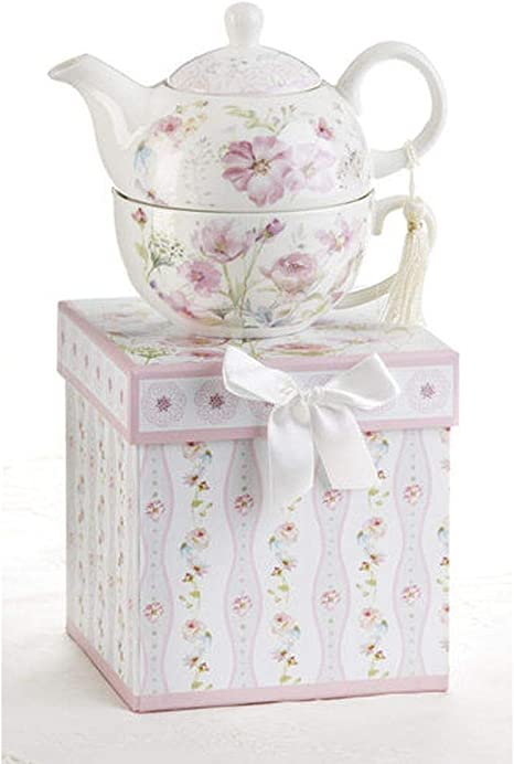 Delton Products Porcelain Tea for One in Gift Box Blue Hydrangea 5.8 Inches