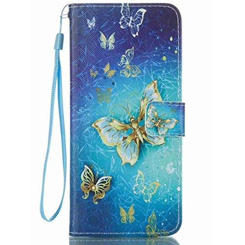 (S8 Plus Wallet Case, Galaxy S8 Plus Case,JanCalm Samsung S8 Plus Case [Kickstand] [Card/Cash Slots] [Wrist Strap] Design Pattern Premium PU Leather Fold Flip Pouch Cover + Crystal Pen (Blue)