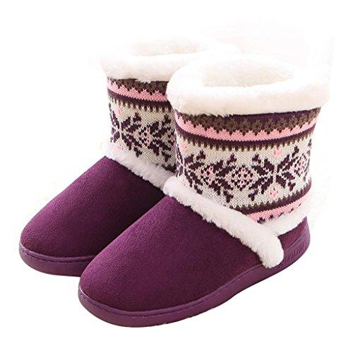 ALUK-Pantoufles en coton en peluche chaude en hiver