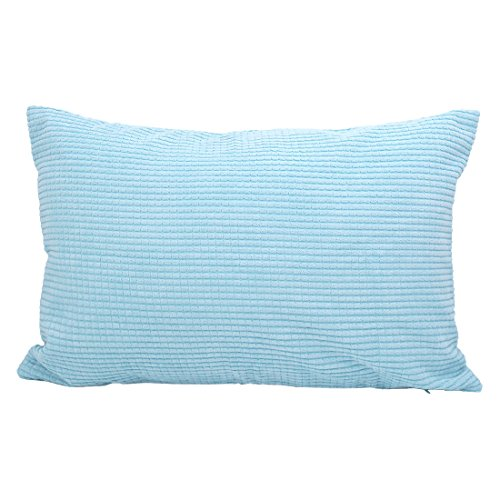uxcell Throw Pillow Cover,Velvet Cushion Cover Comfortable Corduroy Corn Striped Soft Pillow Case for Couch Sofa Bed Car(12 x 18 Inch,Sky Blue)
