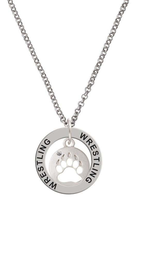 Bear Paw Silhouette - Wrestling Affirmation Ring Necklace