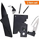 2 Survival Wallet Multitool Cards-SHARP Folding Credit Card Size Knife and Survival Pocket Tool Kit Wallet Tool with AMAZING 18-IN-1 Credit Card Tools