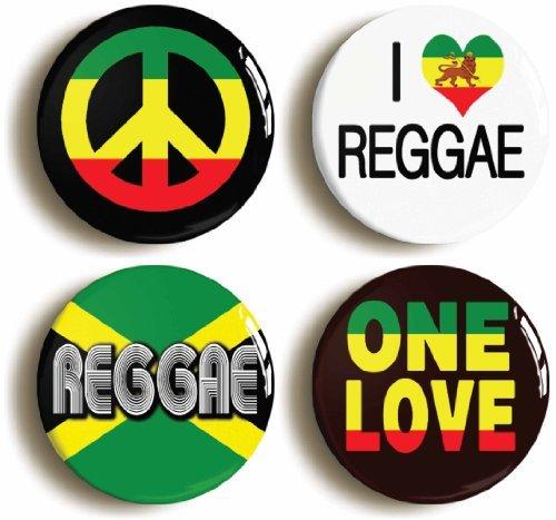 4 x Reggae Pins Buttons (Size 1inch Diameter) Rastafarian Caribbean