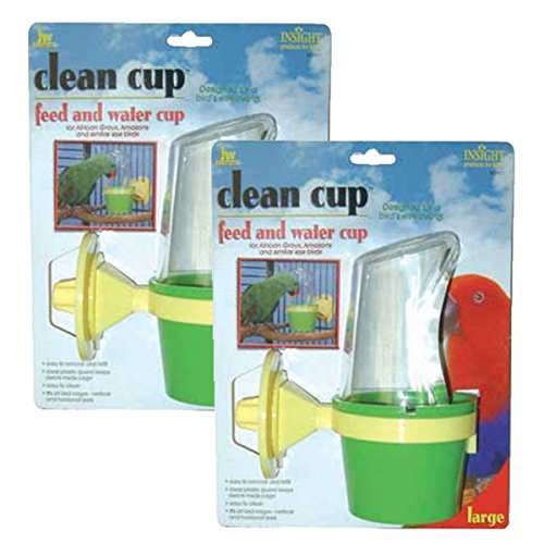 Clean Cup Feeder - JW Pet Company Clean Cup Feeder and Water Cup Bird Accessory, Large (2 Pack)