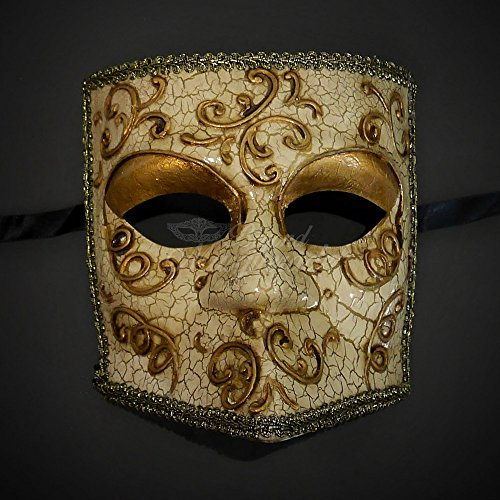 Roman Couples Costumes - Elegantly and Finely Detailed Gladiator Face Mask Design - Gold Lining