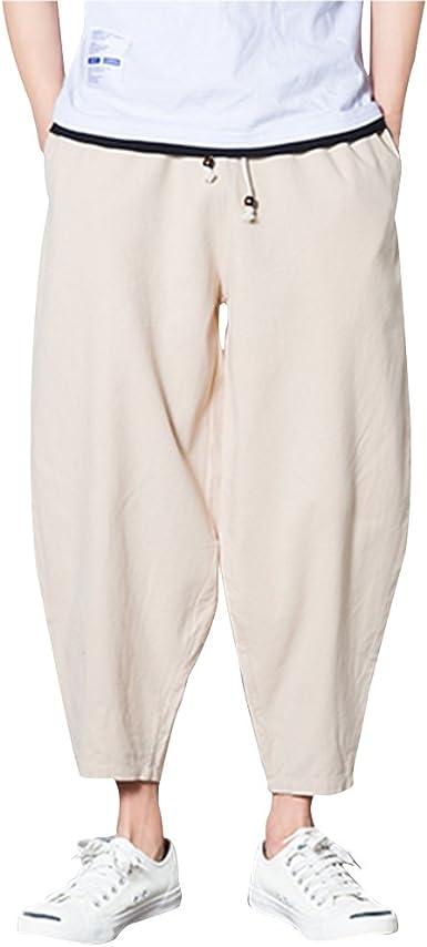 Zhuhaitf Comodo Talla Grande Casual Pantalones Deportivos Hombres Loose Transpirable Haren Pants Lino Pantalones Para Unisexo Mujeres Adolescentes Verano Amazon Es Ropa Y Accesorios