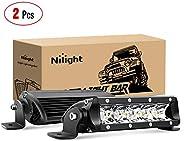 Nilight LED Light Bar Super Slim 2pcs 17,8cm 30W Spot Driving Fog Light una Sola Fila Off Road Luces LED par