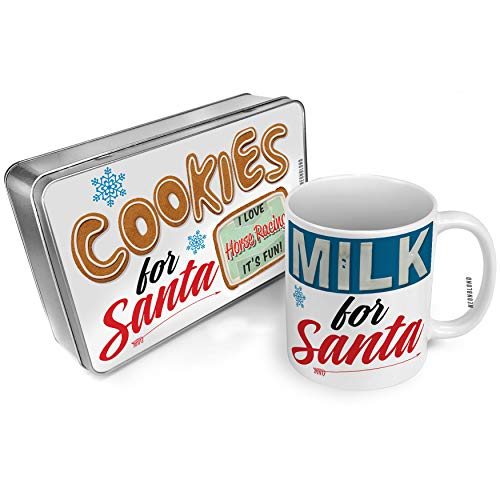 NEONBLOND Cookies and Milk for Santa Set I Love Horse Racing, Vintage design Christmas Mug Plate Box -