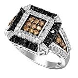 Sterling Silver 1.00ct White, Black and Brown Diamond Square Ring (H-1, I2-I3 Clarity)