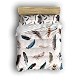 Family Decor Home Bedding Sets Colorful Feather Style Print Bedspread Sets For Lovely Teen Girls 4 Pcs Comforter Sets Duvet Cover, Flat Sheet, Shams Set 4Pieces