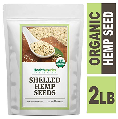Healthworks Shelled Hemp Seeds Organic (32 Ounces / 2 Pounds) | Premium & All-Natural | Canadian or European Sourced | Contains Omega 3 & 6, Fiber and Protein