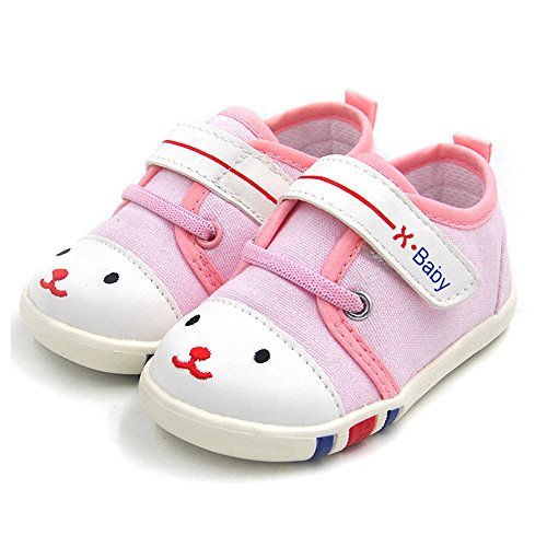 HLM Baby Shoes Sneakers Infant for Girls Boys Walking Tennis Canvas Pink Toddler (12-15 Months M US Infant, 1.Pink)