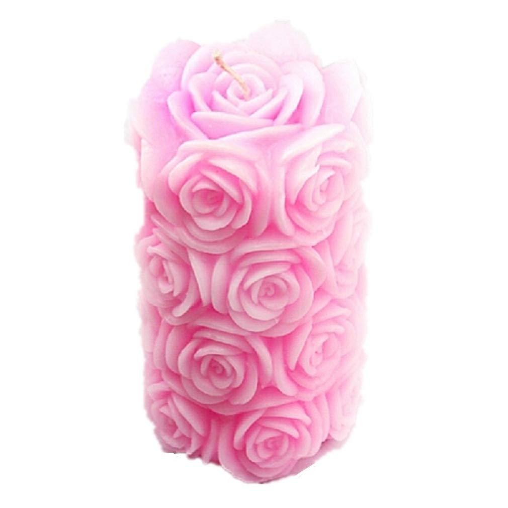 Vancgoods Big Rose Cylinder Candle Molds Flexible Wedding Cake Decorating Craft Fimo DIY Candle Silicone Mold Molds