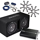 Kicker Bass Package - 43DCWR122 Dual 12 CompR Loaded Enclosure, Grilles, DXA 1500 Watt Amplifier, 4-AWG Wiring Kit